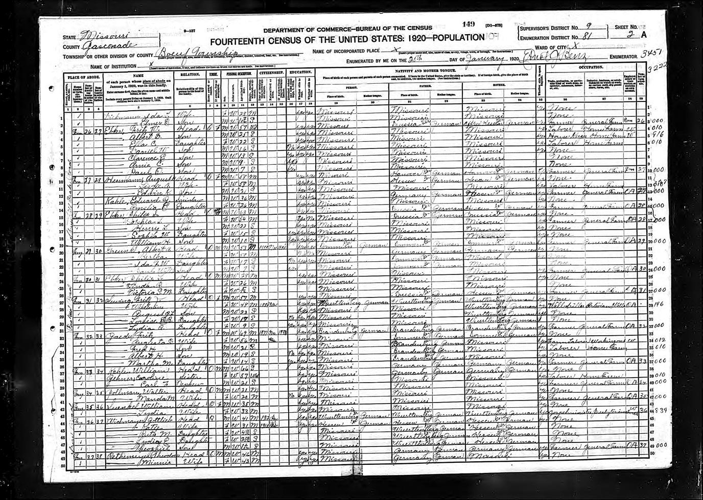 Lydia E Widmayer - 1920 United States Federal Census