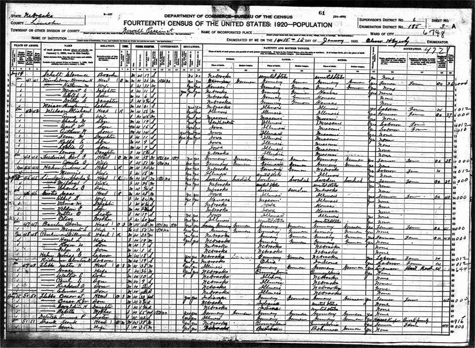 Roger W Paulman - 1920 United States Federal Census