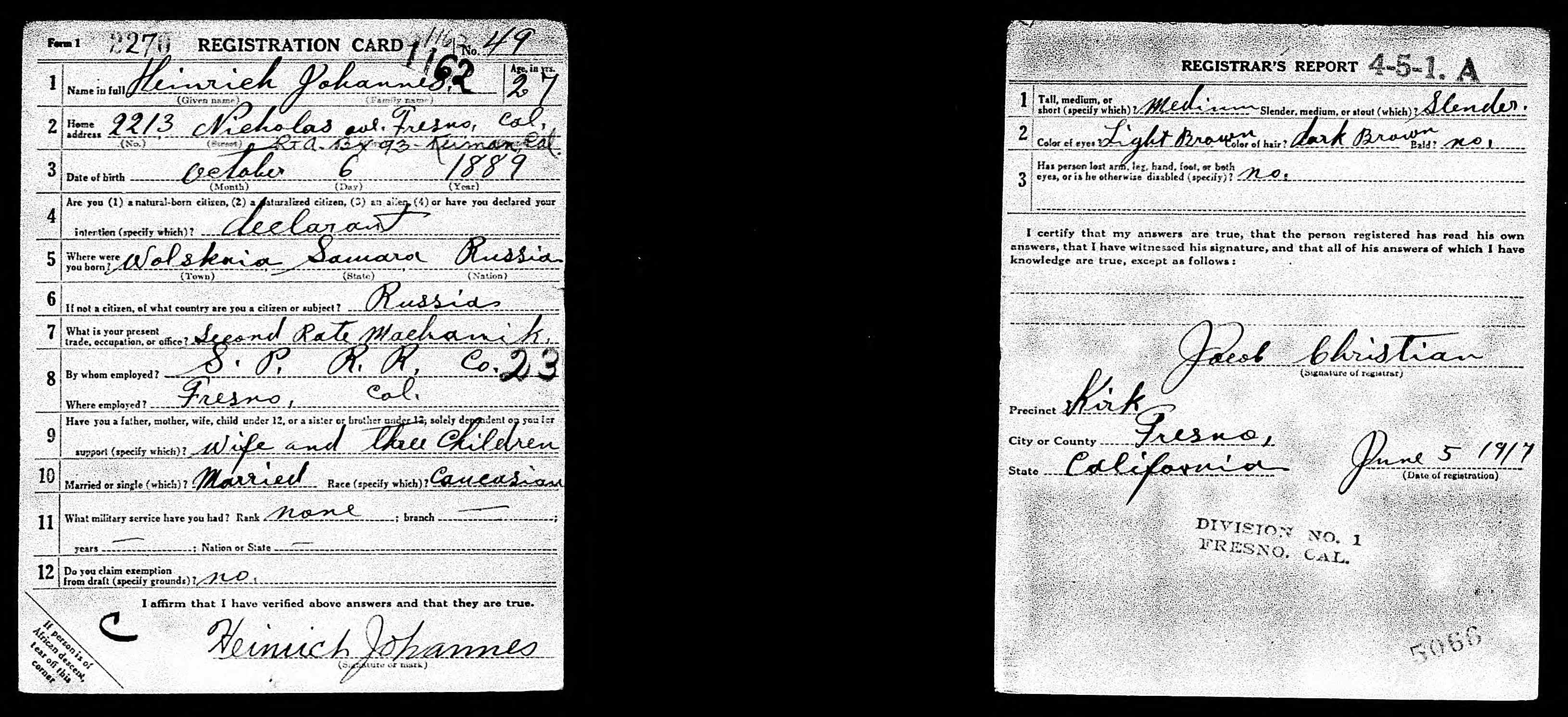 US, World War I Draft Registration Cards, 1917-1918 - Heinrich Johannes